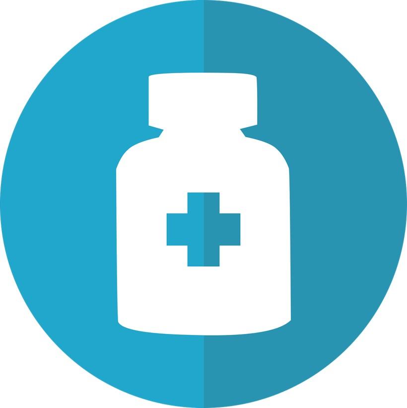 grafika przedstawia fiolkę na leki z niebieskim krzyżykiem na środku