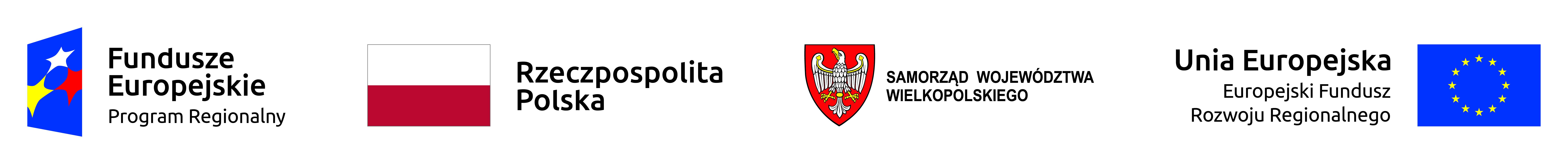 Grafika przedstawia (od lewej): logo Regionalnego Programu Fundusze Europejskie, flagę RP, herb Samorządu Województwa Wielkopolskiego, flagę UE.